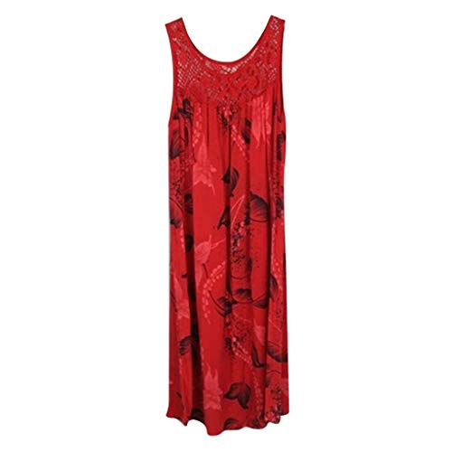 (Adeliber Dress Women's Summer Wrap V Neck Bohemian Floral Print Ruffle Swing A Line Beach Mini Dress Red)