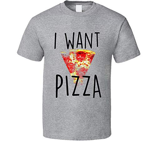 ADSION I Want Pizza Funny Pizza Food Humour Graphic Pizza T-Shirt Sport Gris