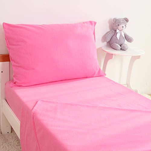 TILLYOU 3-Piece Cotton Flannel Toddler Sheet Set (Fitted Sheet, Top Flat Sheet and Envelope Pillowcase) - Warm Soft Plush Crib Sheets Set Toddler Bed Set - Baby Sheet & Pillowcase Sets - Pink