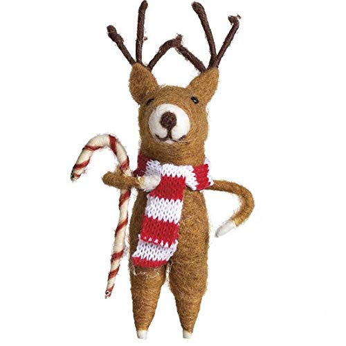 Christmas Felted Reindeer with Candy Cane Ornament ()