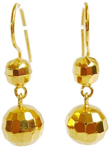 [24k Yellow Gold Plated 25 mm Long Two Glitter Disco Shiny Balls Women Girls Dangle Earrings] (Gold Ball Drop)