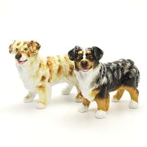 Australian Shepherd Dog Ceramic Figurine Salt Pepper Shaker 00001 Ceramic Handmade Dog Lover Gift Collectible Home Decor Art and Crafts