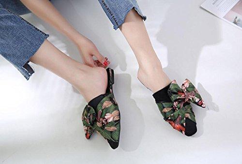 Flor Flops Zapatos Abierto Las del Zapatillas DANDANJIE Moda de Verde de Sandalias los Las Calzan para Mujer señoras del para Arco Flip del Verano del caseros pie la la Dedo y 66XHfq