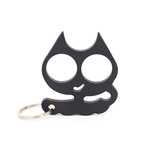 Prudance Cartoon Cat Keychain - Decorative Key Chain Light and Portability of carrying - Great Gift for Women & Girls - Black