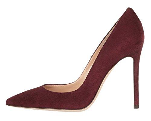 Eldof Mujeres Pointed Toe High Heels Stiletto 100cm Tacones Altos Vestido Bombas Vino