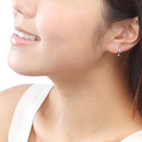 """925 Sterling Silver Polish Finishing Diamond-Cut Huggie Hoop Earrings (0.6""""), Women Fashion Jewelry"""