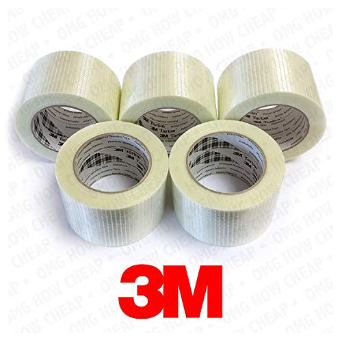 3M Tartan - Cross Weave Pressure Sensitive Filament Tape - 75mm x 50m - Pack of 5 ()