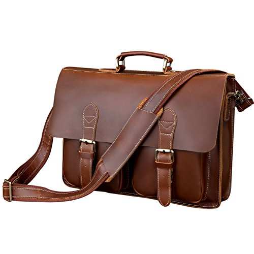 BAIGIO Office 15.6'' Laptop Briefcase Men Leather Business Shoulder Messenger Bag (Red Brown) by BAIGIO (Image #1)