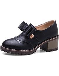 Women's Vintage Block Medium Heel Slip On Dressy Round Toe Baroque Pumps Shoes With Bows