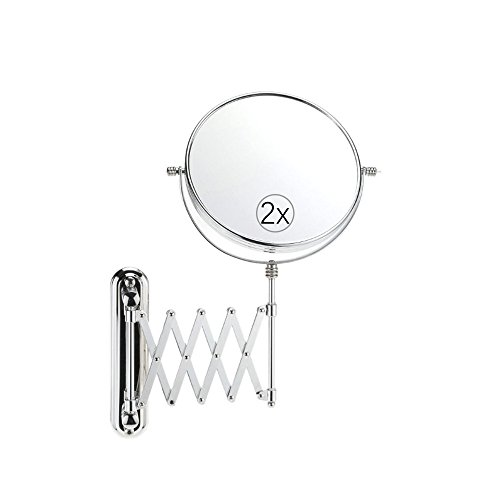 6.7-inch Wall-mounted Extension Mirror, 2X Magnifying Mirror Double-sides Makeup Mirror, Magnifiers Cosmetic Mirror in Bathroom , Bedroom