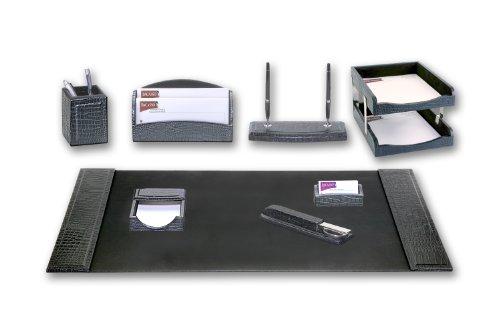 Dacasso Black Crocodile Embossed Leather Desk Set, 10-Piece
