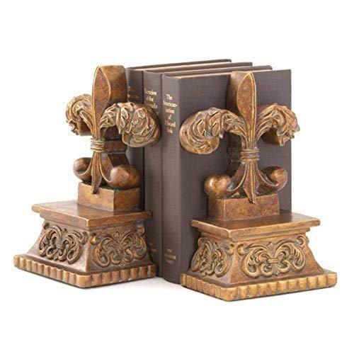 Vanda6549 Bookend Set Alabastrite Bronze Colored French Fleur de lis Cast Ends Desk Bookshelf