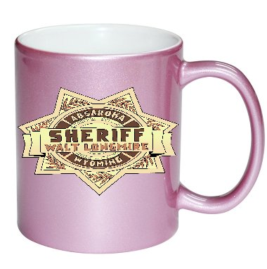 (Sheriff Badge Image Fan Art PINK 11 ounce Ceramic Coffee Mug Tea Cup by Trendy Accessories)