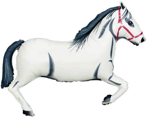 42'' HORSE BALLOON (WHITE) - Amazing New HOVERING ANTI-GRAVITY TOY - Free Floating, Flying Pony Barnyard Farm Animal Kingdom Cowboy Birthday Party Favor by SPACE PET