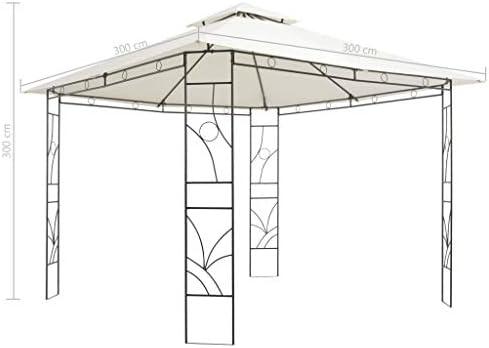 Festnight Gazebo Pabellón de Jardín Cenador para Jardin Cuadrado, Impermeable y Resistente a los Rayos UV 300x300x300 cm Crema: Amazon.es: Hogar