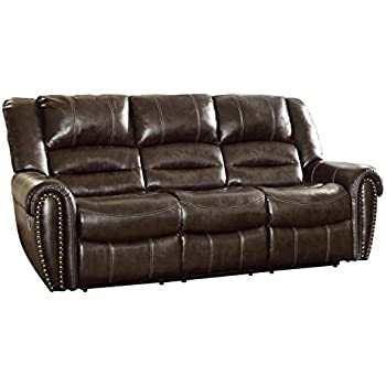 Homelegance 9668BRW 3 Double Reclining Sofa, Brown Bonded Leather