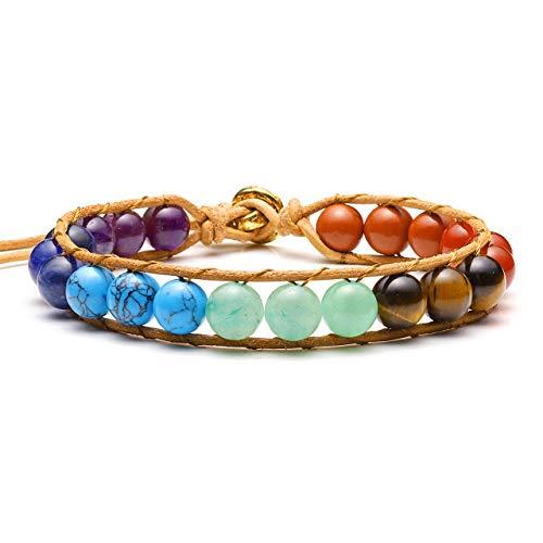 Top Plaza 7 Chakra Bracelet Reiki Healing Crystal Beads Yoga Adjustable Bracelets Handmade Leather Boho Chakra Gemstone Jewelry for Womens Girls ()