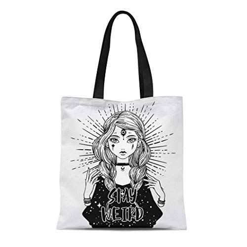 Semtomn Canvas Tote Bag Beautiful Three Eyes Monster Girl Puppet Hands and Stay Durable Reusable Shopping Shoulder Grocery Bag ()