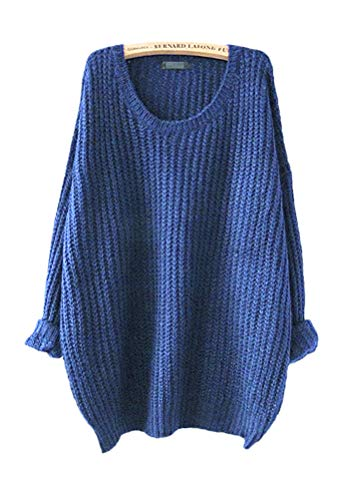 on Oversized Knitted Crewneck Casual Pullovers Sweater (#7 Blue) ()