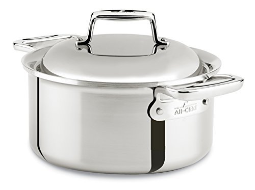 All-Clad SD7530356 D7 18/10 Stainless Steel 7-Ply Bonded Construction Dishwasher Safe Oven Safe Round Oven Dutch Oven, 3.5-Quart, Silver