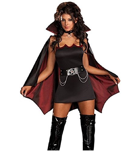 Batwoman Corset (Black Magic Witch with Cape Costume for Women)