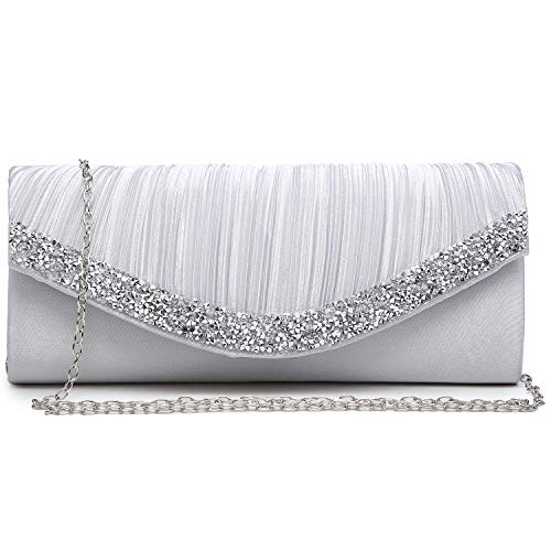 Dasein Women's Satin Pleated Evening Bags Rhinestone Accented Flap Clutch Purses with Silver Chain Strap Silver