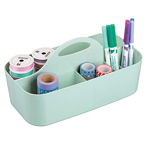 (mDesign Plastic Portable Craft Storage Organizer Caddy Tote, Divided Basket Bin with Handle for Craft, Sewing, Art Supplies - Holds Paint Brushes, Colored Pencils, Stickers, Glue - Large - Mint Green)