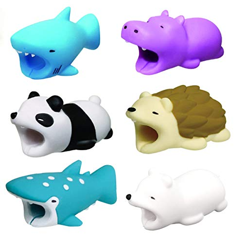Yumir Cable Chomper, Cable Animal Bit Cute Cartoon Animal Bit Charging Cable Protector USB Cable(6 Pcs)