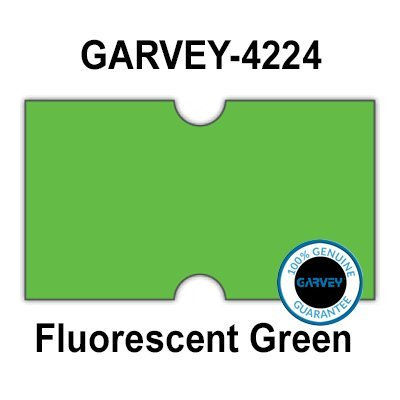 (240,000 Genuine GARVEY 2112 FL Green General Purpose Labels: Full case - no Security cuts [Compatible w/Motex MX-5500, Towa 1 Line, Jolly, Hallo, Freedom and Impressa 2112 Punch Hole (PH) Labelers])