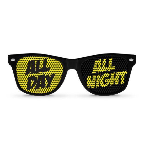 ALL DAY ALL NIGHT Black Retro Party - Locos Glasses