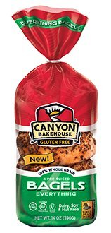 Canyon Bakehouse Gluten Free Presliced Everything Bagels, 14 Ounce (Pack of 4)