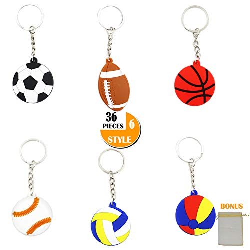 36-Pack Sports Ball Keychains Bulk Santa Gift Toys School Carnival Prizes, Sports Theme Room Decor Kids Boy Birthday Party Supplies Favors, Key Ring Chain Backpack Clips, Bonus Goodie Bag (6 Styles) ()