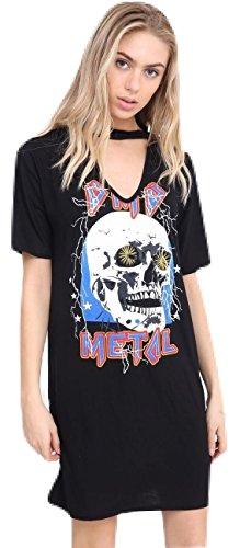 Momo&Ayat Fashions Ladies Choker Neck Halloween Skull Heavy Metal Printed T-Shirt Dress US 4-22 (3XL (US 20-22), Black)]()