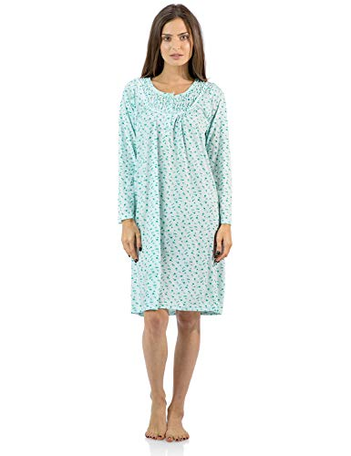 - Casual Nights Women's Cotton Blend Long Sleeve Nightgown - Floral Pintucked Green - XX-Large