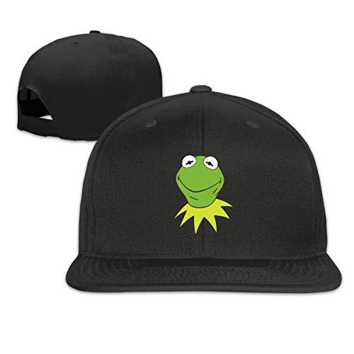 NINGFEI Funny Kermit The Frog Trucker Hats Adjustable Unisex Solid Flat Bill Baseball Cap Black