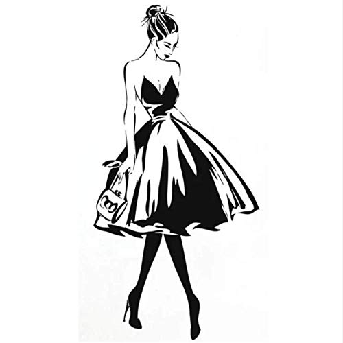 linshel Wall Decal Woman Face Fashion Style PVC Vinyl Wall Sticker Clothing Boutique Costume Design Wall Poster Beauty Salon Decoration 57 112Cm ()