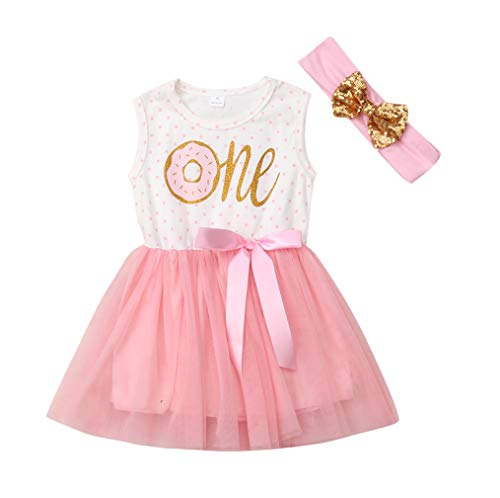 2Pcs Baby Girls Tutu Dress 1st Birthday Outfit Donut Letter Print Top Tulle Tutu Skirt with Headband Outfit Set (18-24M, One Sleeveless) -