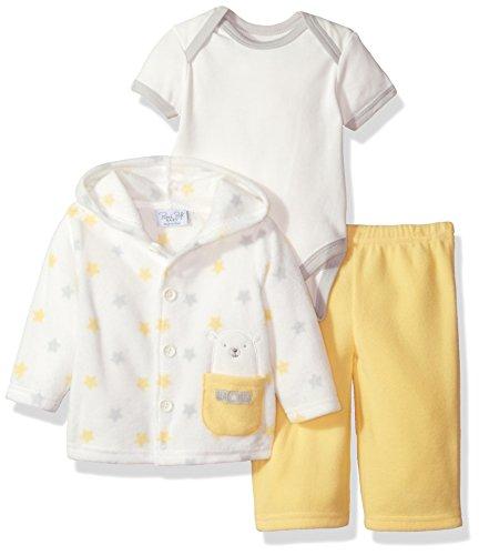 (Rene Rofe Baby Kids' Little Newborn 3 Pc Fleece Jacket and Bodysuit Set, Yellow Star, 6-9 Months)