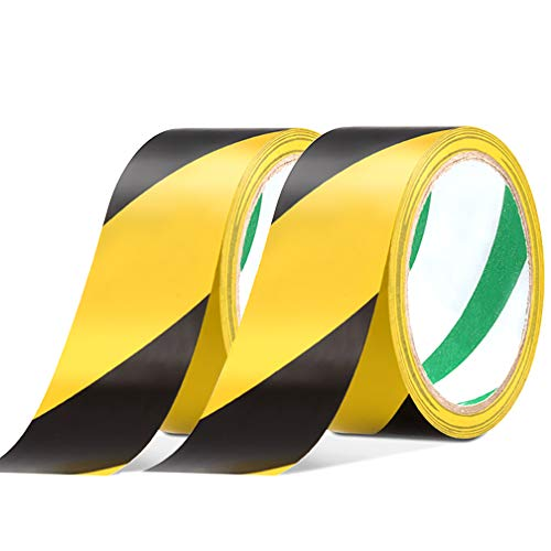 (2 Pack Black & Yellow Warning Hazard Tape, Maveek 48mmX20m PVC Self-Adhesive Safety Grip Tapes, High-Visibility and Anti-Scuff Caution Rolls for Walls/Floors/Pipes/Equipment)