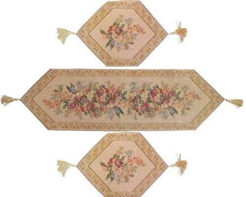 DaDa Bedding Tapestry Table Runner - Decorative Woven Wildflower Wonderland, Floral, 3-Pieces