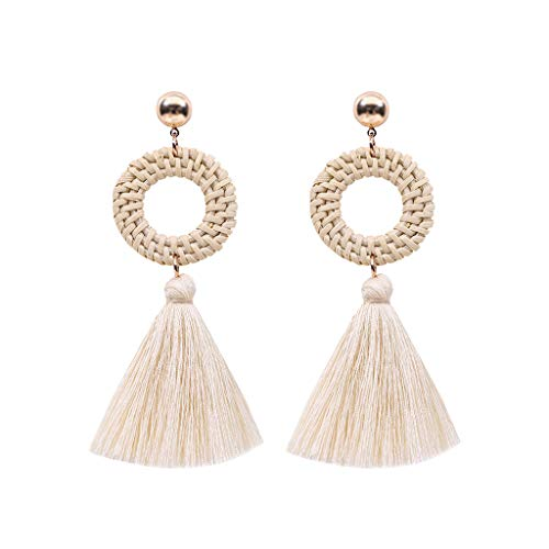 - Redvive Top Bohemian Rattan Tassel Handmade Long Round Earrings Ladies Jewelry
