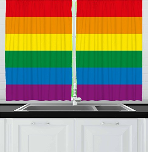 Ambesonne Pride Kitchen Curtains, Horizontal Rainbow Colored Flag of Gay Parade Freedom Equality Love Passion Theme, Window Drapes 2 Panel Set for Kitchen Cafe Decor, 55