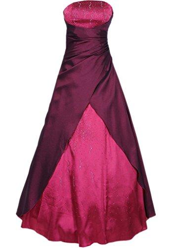 eine lange tr Frauen gerlosen Brautkleid wulstig prom Burgund Abendkleid Satin HWAN Linie gqpAYx5
