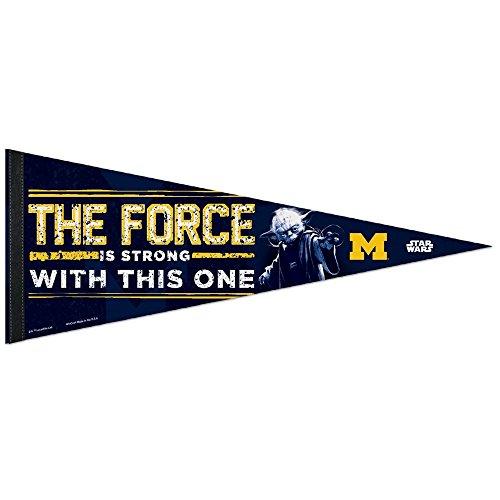 NCAA Michigan Wolverines Star Wars Yoda Premium Pennant, 12 x 30-Inch - Michigan Wolverines Classic Wool