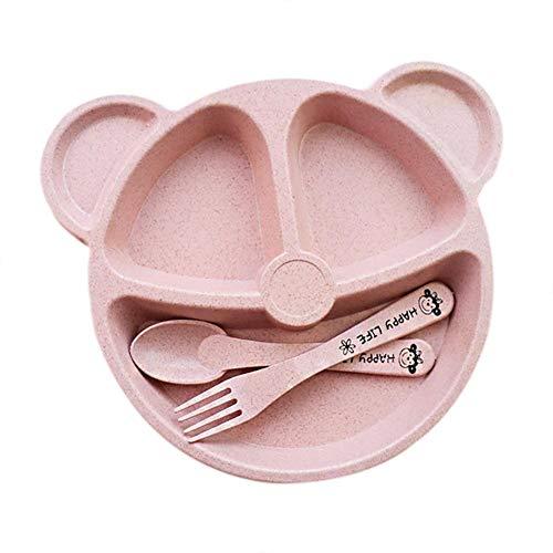 Lijuan Qin Baby Kids Dinnerware Organic Dishes Dinner Set, Cartoon Small Bear Tableware Plates Spoon Forks, Wheat Straw Toddler Divided ()