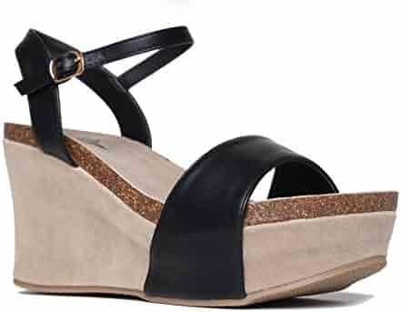 8cab294170c J. Adams Comfortable Ankle Strap Platform Wedge – Casual Open Toe Heel  Sandal – Zella