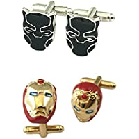 Outlander Gear Marvel Comics 2 Pairs Black Panther & Ironman Superhero 2018 Movie - Wedding Wakanda Groom Groomsmen Mens Boys Cufflinks
