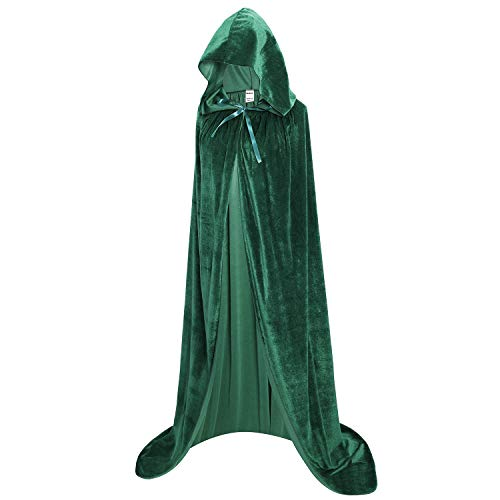 OurLore Unisex Full Length Hooded Robe Cloak Long Velvet Cape Cosplay Costume 59 inch(Green)