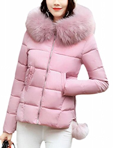 TTYLLMAO Fur Faux Lightweight Womens Collar Pink Hooded Down Jacket Winter Quilted rYE4rxqw