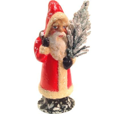 Schaller Paper Mache Candy Container Santa Coat and Tree -